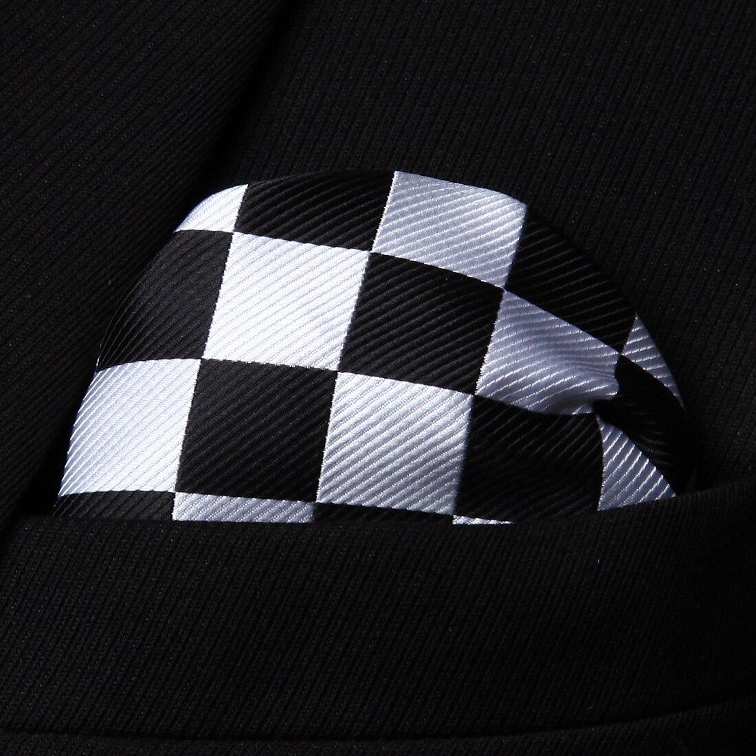 USA Blue Plaida/&Checks Classic Silk Mens Bow Tie Cufflinks Pocket Square LH-763