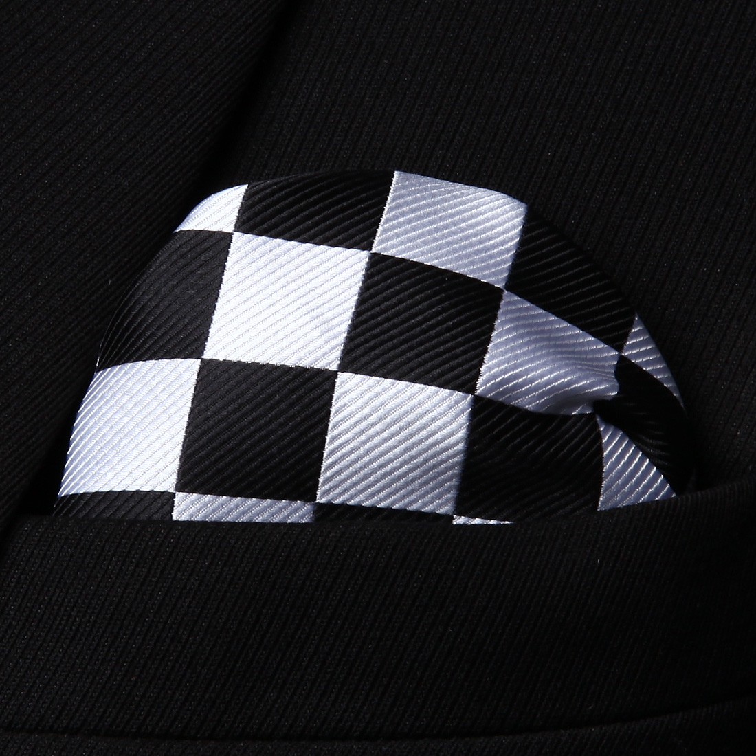 HC351L White Black Check Men 100% Silk Party Handkerchief Pocket Square Hanky