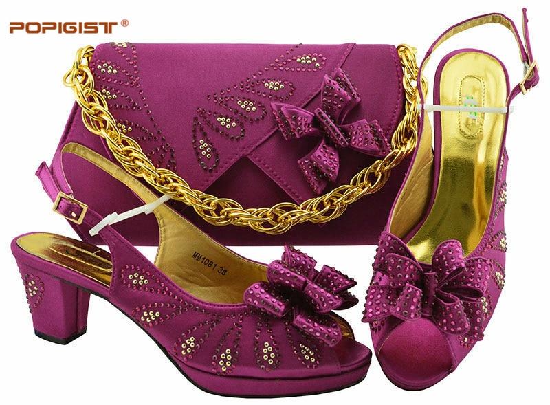 Pour Pu Rose magenta fuchsia En Sacs Ensemble Cuir purple Africain De Italiennes Sac Blue Chaussures dark Green Nigérians Et Couleur Assorties Royal Femmes gold pink Mariage AwrqYA