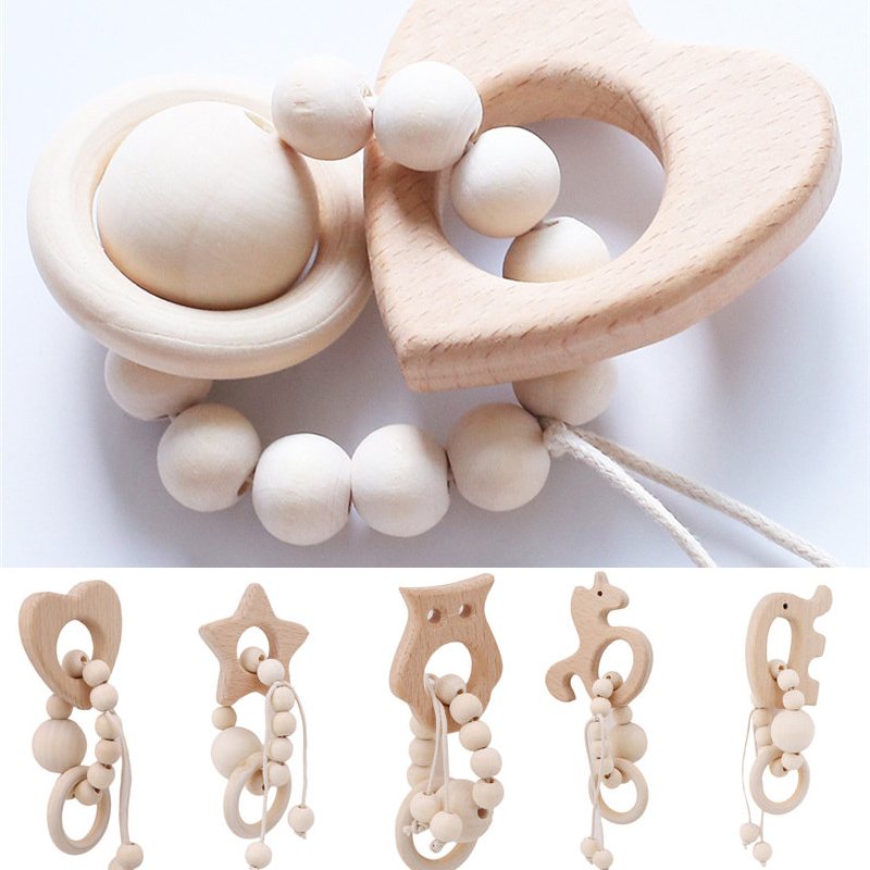 Wooden Baby Organic Wood Silicone Beads Bracelet Animal Shaped Jewelry Teething For Baby Rattle Stroller Accessories Toys
