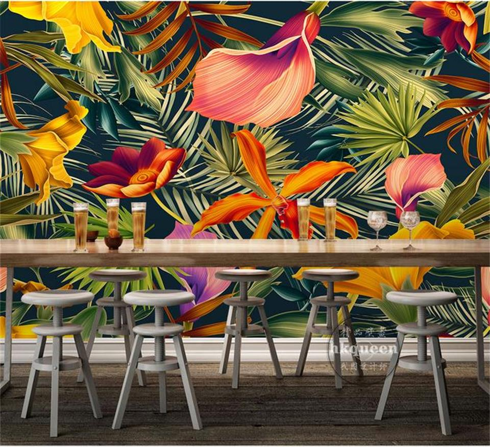 custom 3d photo wallpaper room mural tropical plant flower banana 3d painting sofa TV background non-woven wallpaper for wall 3d