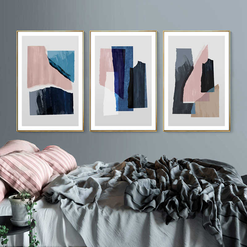 Modern Abstrak Marmer Biru Pink Cetakan Kanvas Cetakan Lukisan Pop Dinding Seni Poster Gambar untuk Ruang Kantor Rumah Dekorasi