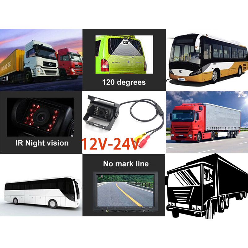 Bus Truck Backup Camera Heavy Duty Vehicle Rearview Reverse Night Vision IR Camera for Trailer Van RV Campers Motor Home