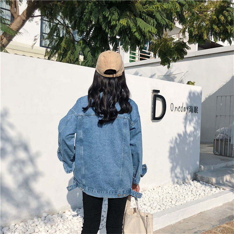 RUGOD Solid Turn-down Collar Jean Jacket for Women Loose Casual Blue Fashionable Women Coats Female outwear Denim Feminine 5