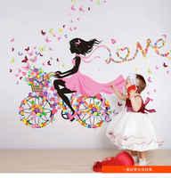 Pegatinas de pared DIY decoración del hogar Rosa princesa ciclismo chica pared pegatina niña dormitorio Sala decoración Fondo decoración hogar