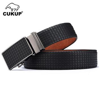 CUKUP Fashion Design S Pattern Belt Accessories Men Waistbands Blue Genuine Leather Waist Belts Automatic Buckle Metal NCK430