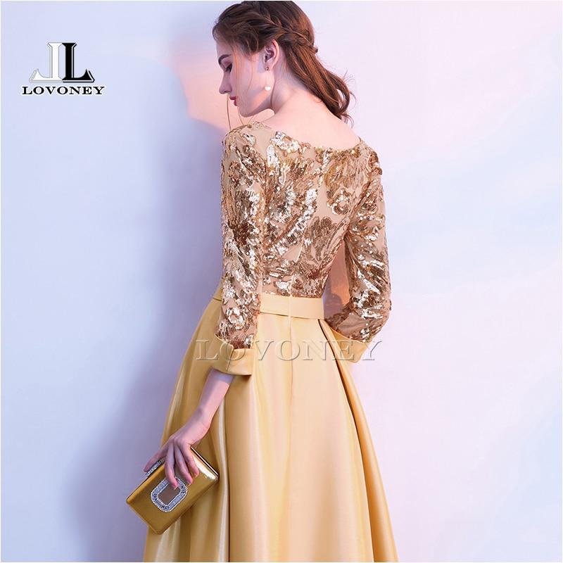 LOVONEY une ligne paillettes Robe De soirée dorée longues robes De bal Robe De soirée Robe formelle femmes élégante Robe De soirée M254 - 2