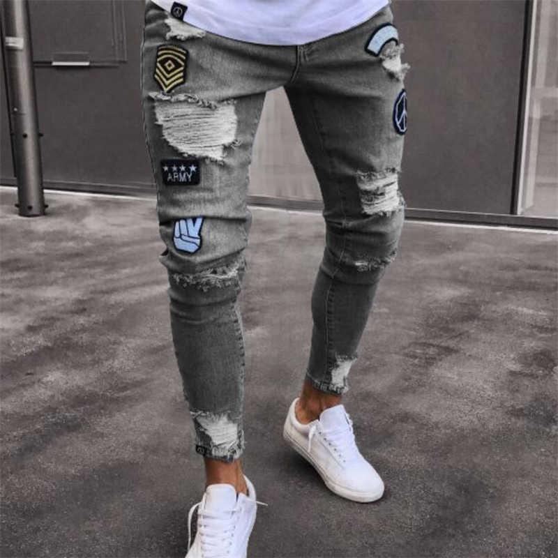 Pantalones Vaqueros Rasgados Elasticos Para Hombre Jeans Con Bordado De Motorista Jeans De Alta Calidad Con Agujeros Rotos Ajustados Pantalones Vaqueros Aliexpress