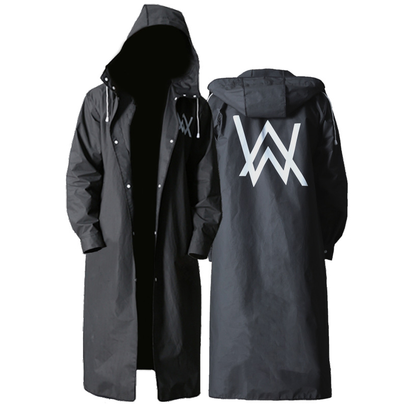 Alan Walker Raincoat Men Fashion Rain Coat Adult Black Rainwear Long Hiking Rain Poncho For Fishing Climbing Men Raincoats