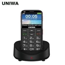 """Uniwa v808g 노인 휴대 전화 큰 sos 버튼 배터리 2.31 """"3d 곡선 스크린 wcdma 핸드폰 손전등 토치 노인 전화"""