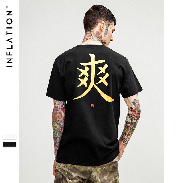 INFLATION 2018 Chinese Print Funny Cotton Black T-shirt Mens Clothing Comfortable and Trendy Summer Top Tee Black 8145S