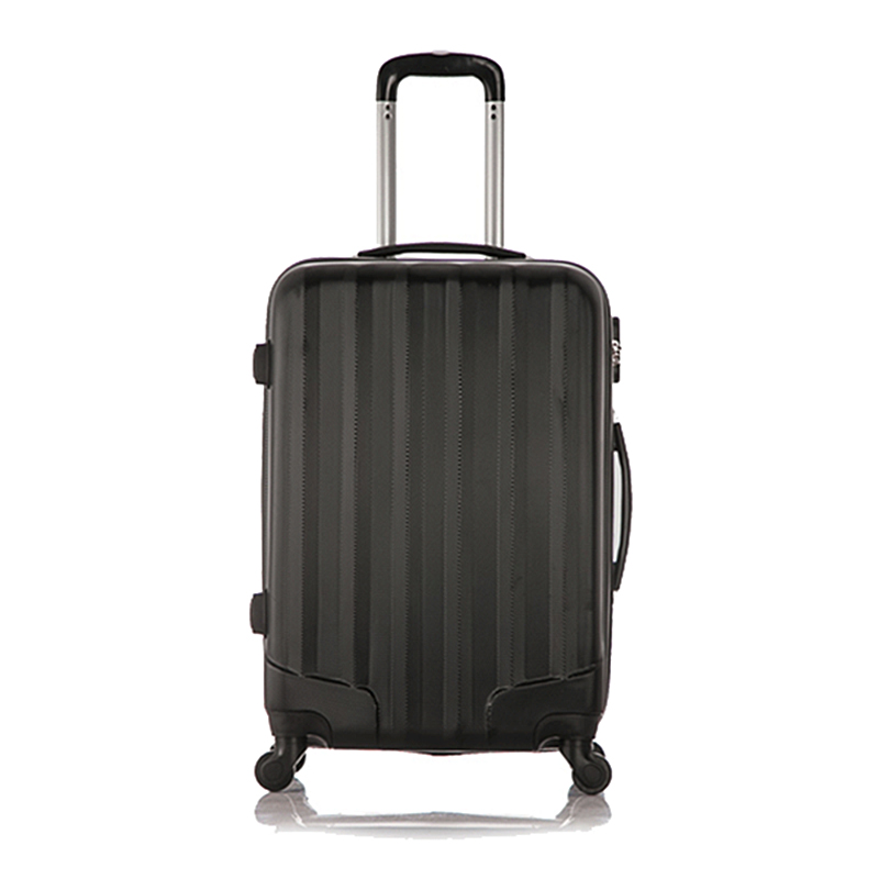 Set of 1 piece travel luggage 4 wheels trolleys suitcase bag hard shell Color Black 20-inch