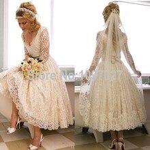 Vintage Lace Tea Length Wedding Dress 2015 Elegant Three Quarter Sleeve Bridal Gowns Vestido De Noiva New Casamento AS189