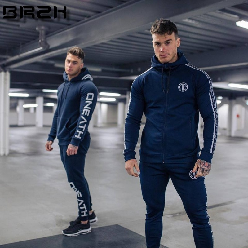 Gyms Men's Sets Fashion Sportswear Tracksuits Sets Men's GYMS Hoodies+Pants Casual Outwear Suits Male Hoodies Plus Size
