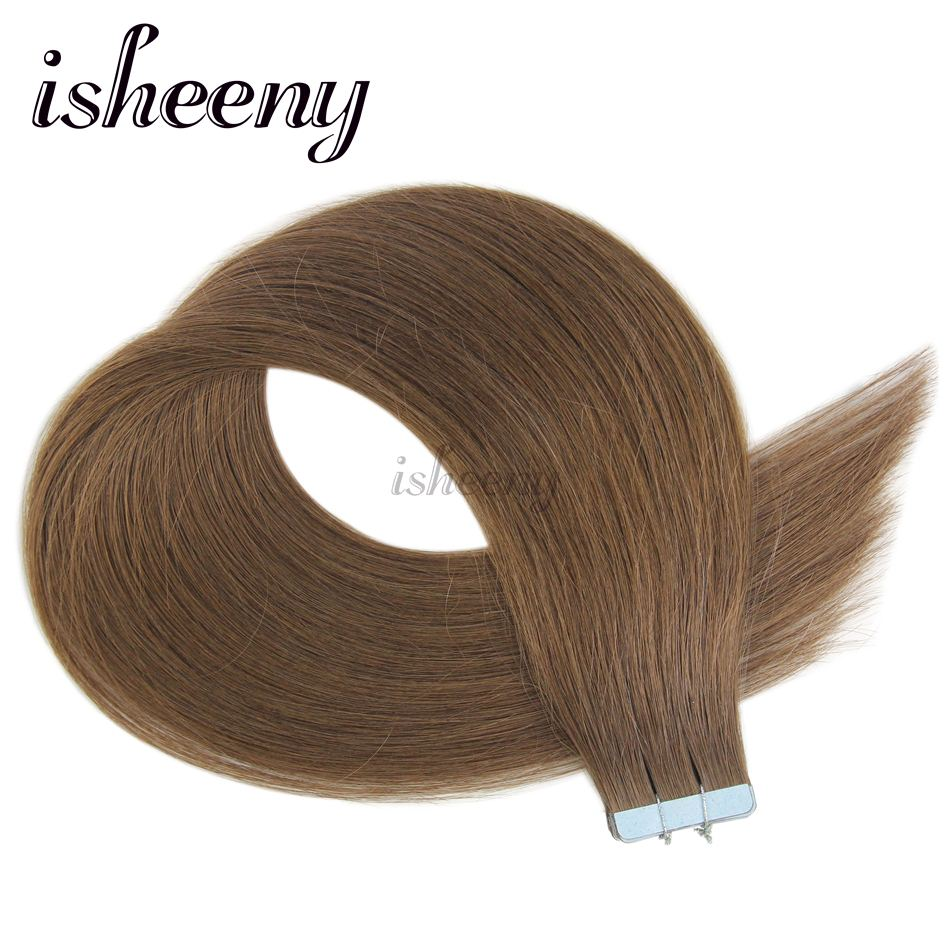 Isheeny 14 18 20 22 European Natural Straight Tape on Remy Hair Extension 6# Honey Brown Tape In Human Hair Extensions