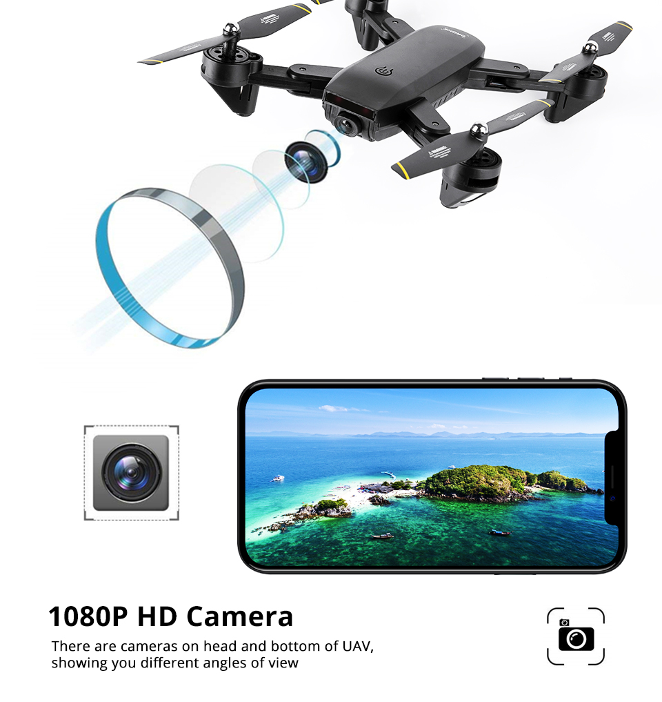 Professional Selfie Drone Optical Follow Me RC Quadcopter with Dual Camera HD 1080P FPV Helicopter VS VISUO XS809S SG700 E58 15