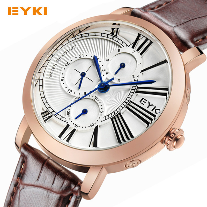 Eyki Luxury Brand Fashion Men Quartz Watches Week Date Clock Leather Strap Casual Business Sport Watch Male Relogio Masculino nary fashion watch leather strap men s watches quartz clock womens watch double calendar with date week lovers casual wristwatch