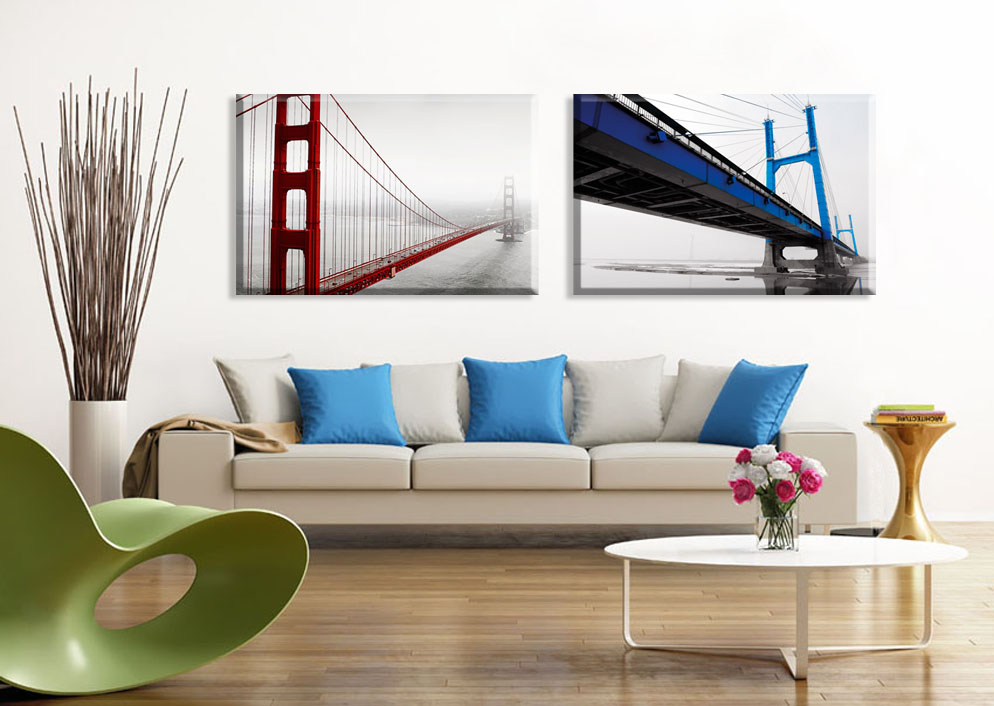 2 piece 2015 Vintage home decor wall pictures red Brooklyn Bridge ...