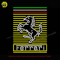 Ferra Prancing Horse Neon Sign Neon Bulb Brand Car Neon Sign Decorate Garage Glass Tube Handcrafted
