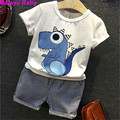Malayu Baby 2016 Summer Edition Korean version of the high quality small dinosaur child suit, cartoon T-shirt + striped trousers