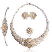 Dazz Мода Роза широкий колье Цепочки и ожерелья Серьги кольцо браслет два Цвета Bijoux Свадебная вечеринка Роскошные Интимные аксессуары