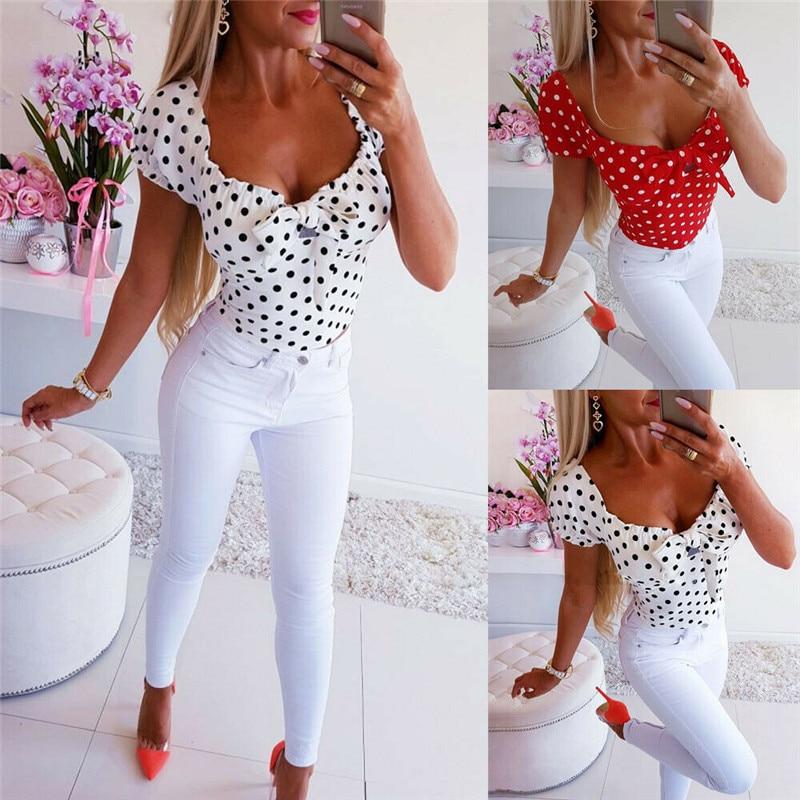 UK Boho Women Dot Print Short Sleeve T-Shirt Ladies Summer Casual Tops
