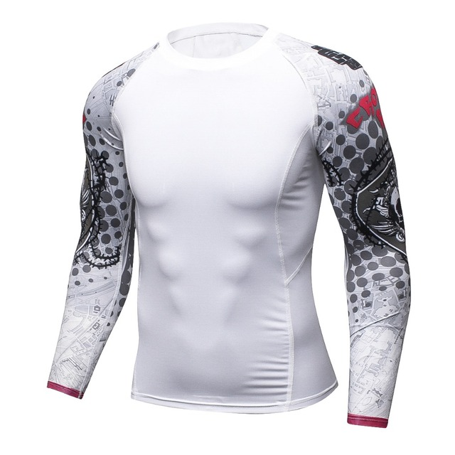 New Men Compression Tight Skin Shirt MMA Long Sleeves 3D Prints Rashguard Fitness Base Layer Weight Lifting Male Tops Wear