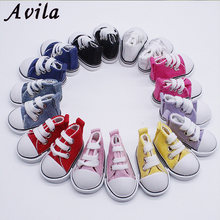 Best Sale1 Pair 5cm Canvas Shoes For BJD Doll Fashion Mini Shoes Doll Shoes for Russian DIY handmade doll Doll Accessories(China)