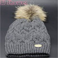 Lady Girls Real Raccoon Fur Pompom Sports Winter Women Hat Beanies Fashion Crochet Cable Two Layer Thick Warm Fur Bonnet Cap