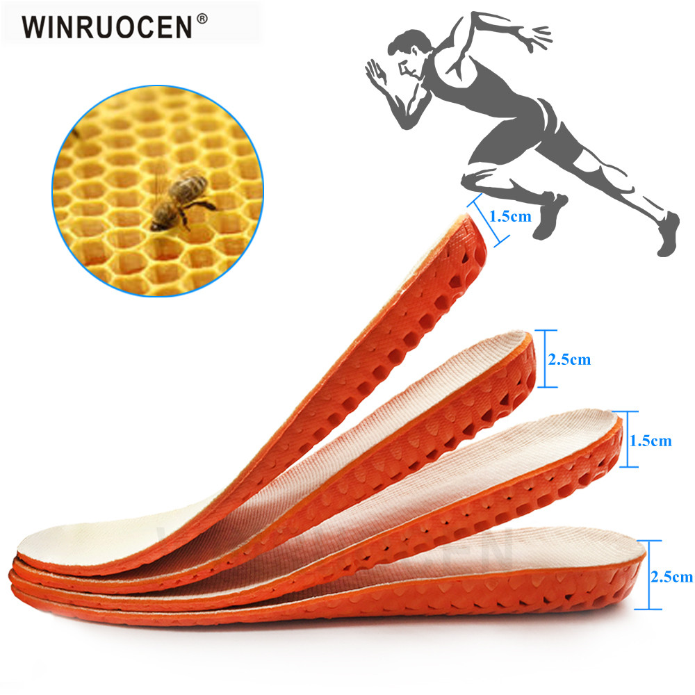 Height Increase Insoles For Men/Women Breathable Honeycomb Comfortable Muscular Ache Pain Insert Heel Lift Taller Shoe Insole