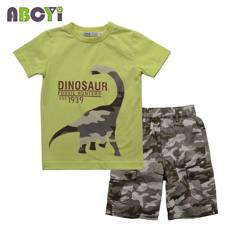 eaaa213b76df7 Children Boys Army Clothing Set Summer Fashoin 2-7Y Kids Clothes Set Boy  Cotton Print