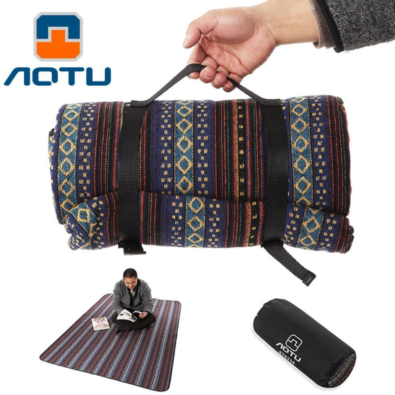 AOTU Durable Canvas Striped Camping Mat Outdoor Picnic Blanket Tent Mattress Folded Portable Bag Beach Mat Moisture-proof pad barbecue camping equipment matelas gonflable tent mat high quality sleeping picnic blanket beach mat yoga pad air inflatable