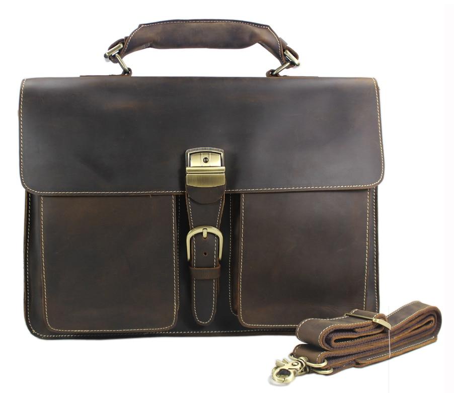 Vintage Crazy Horse Genuine Leather Men s Briefcases Business Bag Men Leather Briefcase 15 laptop Bag