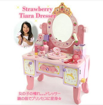 Baby Toys Wood Deluxe Large Dressing Table Child Pretend Play Toy Child Furniture Toy Christmas gift for girl