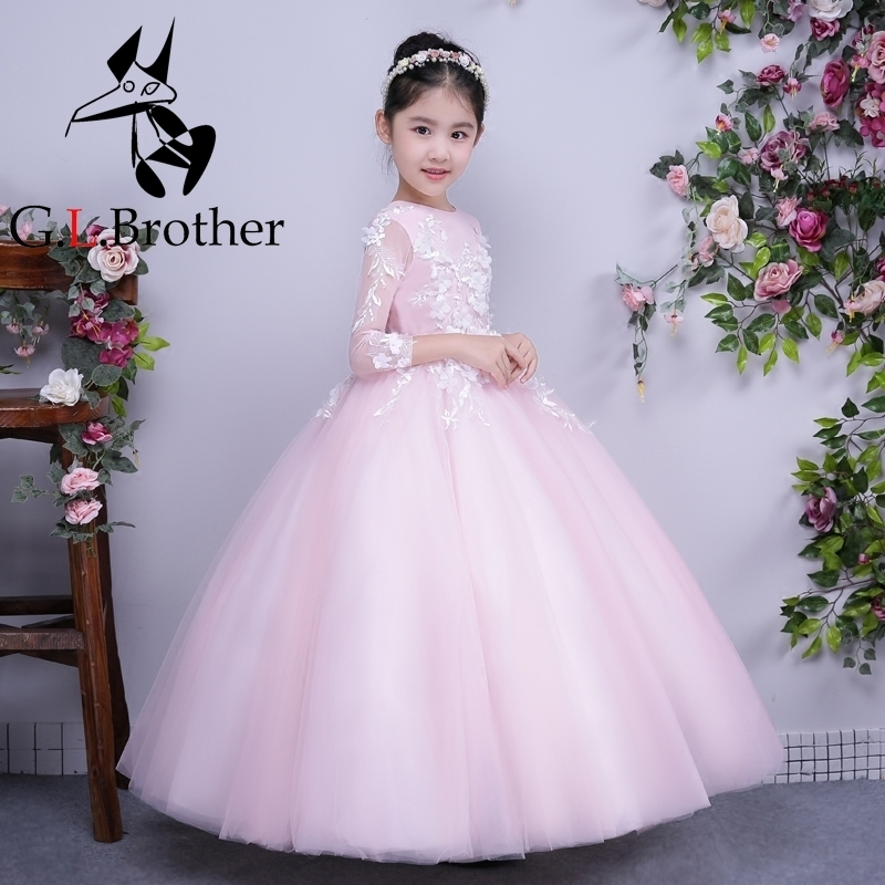 Pink Ankle-Length Princess Dress Summer 2017 Girls Wedding Dresses Flower Cute Printing Girls Dress Moderator Evening Dress P15 moderator
