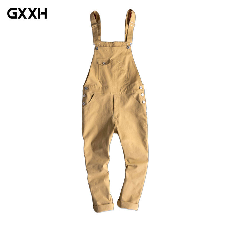 New Men s Siamese Bib Male Japanese Retro Casual Overalls tide Korean Slim pants Men s
