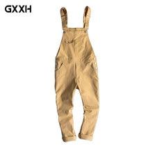 New Men's Siamese Bib Male Japanese Retro Casual Overalls tide Korean Slim pants Men's 9 point pants Men's Overalls Size S-3XL