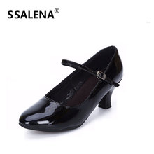 Women Pointed Toe Latin Tango Dance Shoes Female Elegant Ballroom Party Mary Jane Dancing Shoes Ladies Med Heels Shoes AA60385