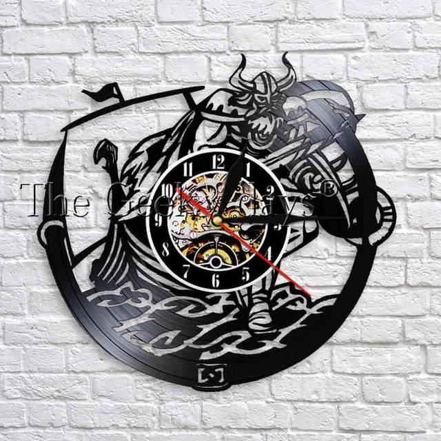 1 pièce Viking décor en vinyle Record enfants chambre horloge murale 12 recyclé LP Vintage horloge Unique décor mural pour salon