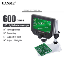 UANME Digital Video Microscope 600X 4.3 3.6MP LED Magnifier microscopio for Phone Maintenance QC/Industrial Inspection +Stand 600x 3 6mp 4 3 inch hd led digital microscope mobile phone maintenance microscope electronic microscope video magnifier
