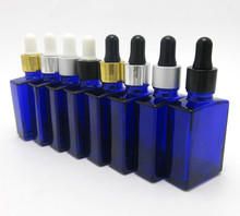 Botella de vidrio cuadrados y planos con gotero de aluminio, 30ml, azul cobalto, 1oz, 200 unids/lote