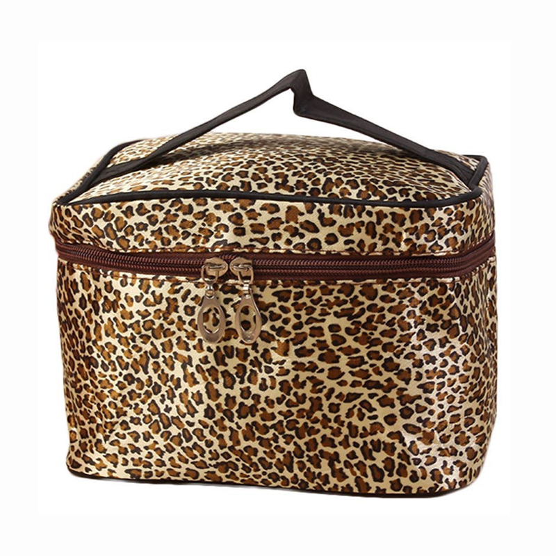 BEAU Waterproof Makeup Organizer Leopard Cosmetic Bag Women Makeup Case