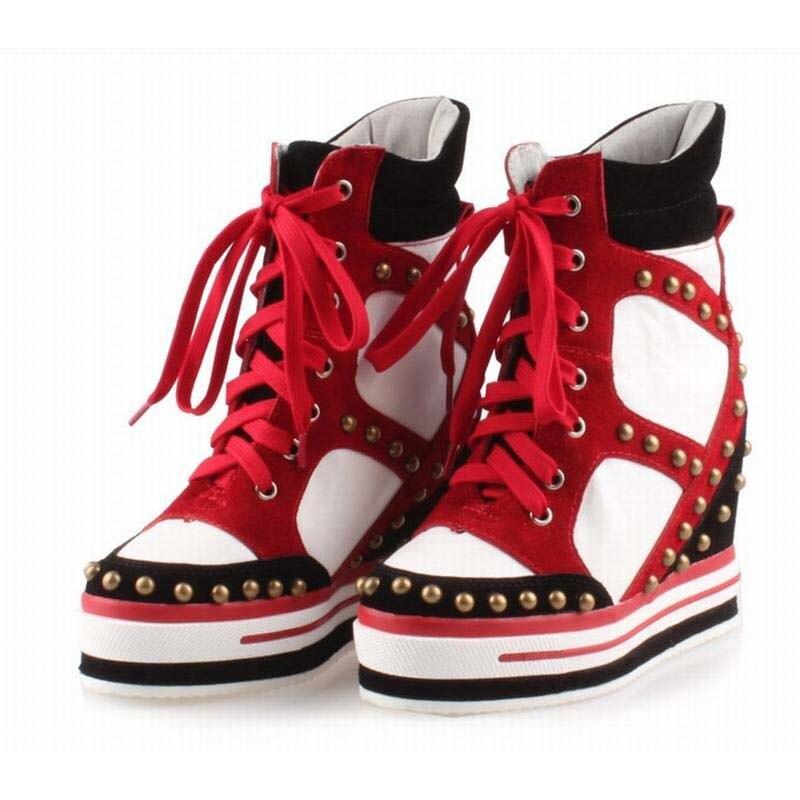 7bbc4a84305c2 Hot mulheres moda rebites high top lace-up vaca camurça Invisible altura  crescente sapatos casuais strass sapatos cunhas calcanhares botas