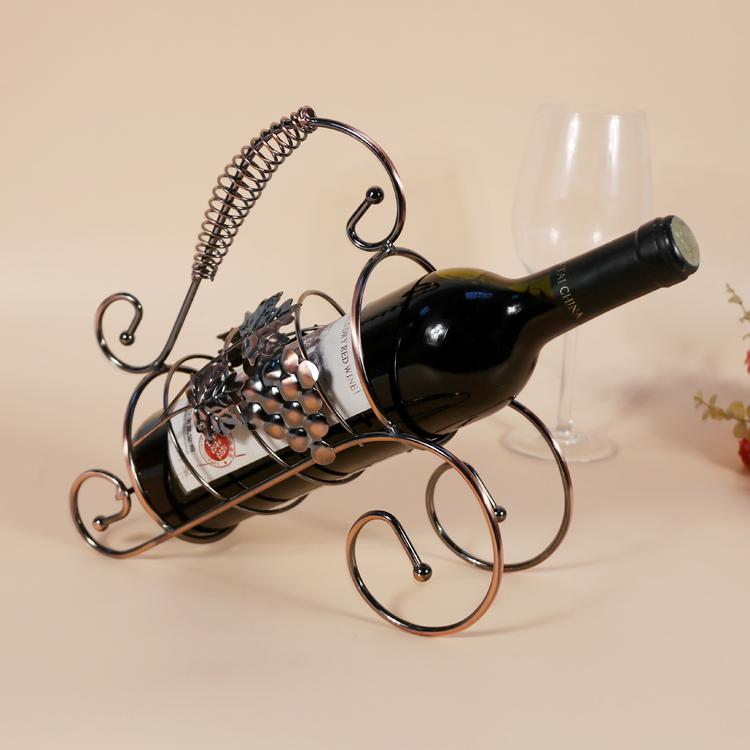 TYJJ-012 Iron Craft Home Decoration Wine Rack Metal Twisted Grape Wine Bottle Holder European Style Wine Rack