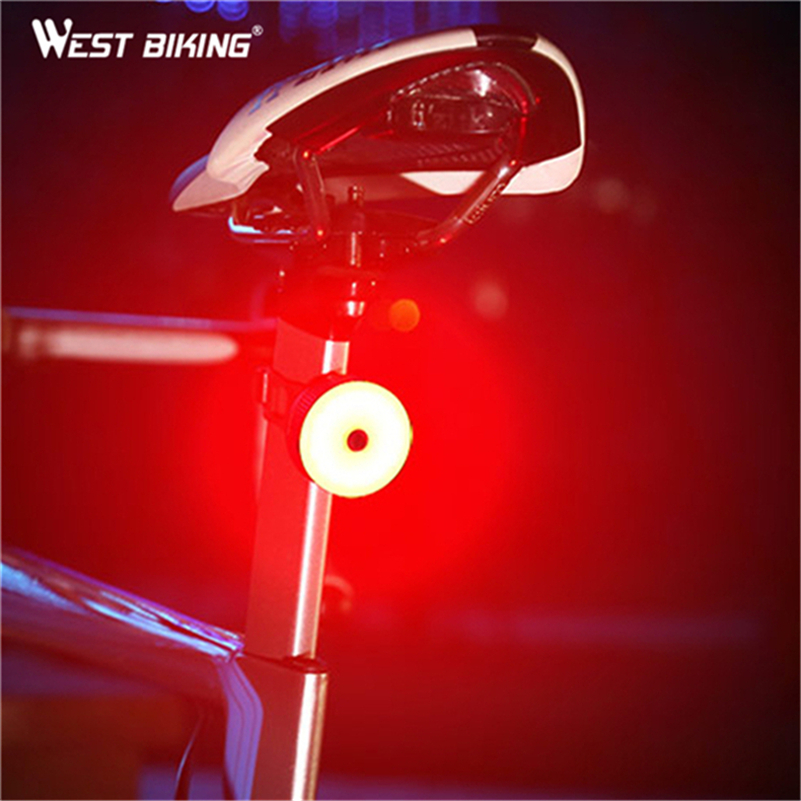 WEST BIKING 5 Modes Bicycle Tail Light USB Fast Charging Cycling Rear Taillight Lamp Bike Accessories Waterproof MTB Bike Light