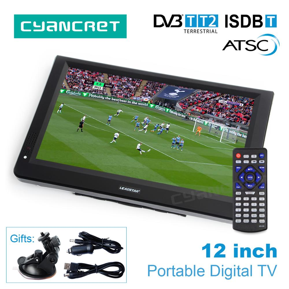 LEADSTAR 12 inch HD Portable TV DVB T2 ATSC ISDB T tdt Digital and Analog mini small Car Television Support USB SD Card MP4 AC3