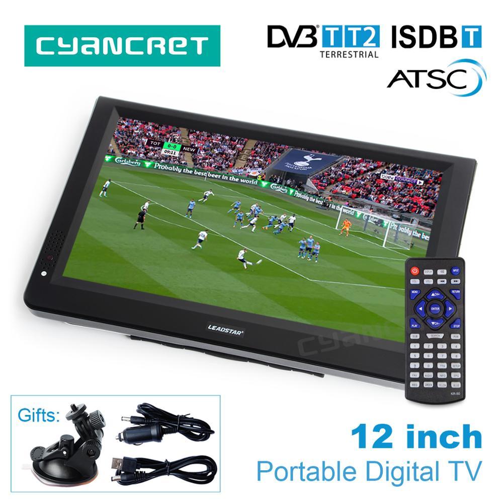 LEADSTAR 12 pouces HD DVB-T2 de télévision Portable ATSC ISDB-T tdt numérique et analogique mini petite voiture Support de télévision USB carte SD MP4 AC3