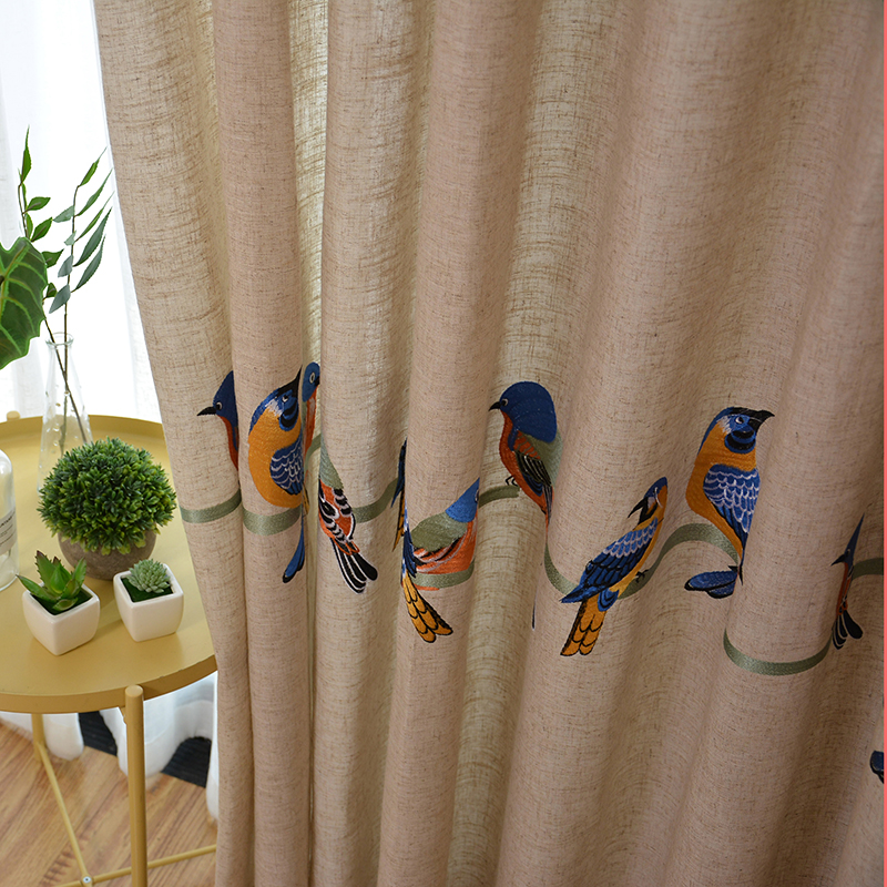 Image 2 - Cotton Linen Curtains for Living Room Bedroom Pastoral Curtain  with Embroidery Birds White Tulle Sheer Curtain Window  TreatmentCurtains