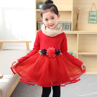 Autumn Winter Baby Girl Dress Princess Birthday Children Clothing Evening Flower Kids Clothes Quality Tutu Party