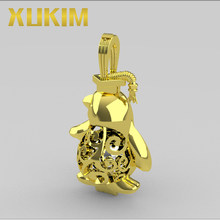 Xukim Jewelry 925 Sterling Silver Gold Silver Penguin Locket With Graduation Hat Pearl Cage Pendant Necklace(China)